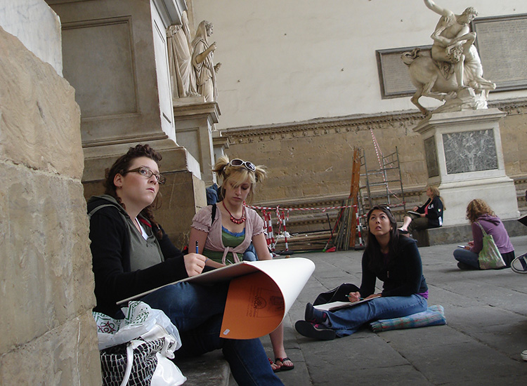 Adelphi students sketch sculptures in Florence Italy